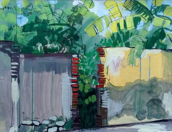 "BEHIND THE WALL 20x16"" gouache on paper, live painting, Vietnam village scene (Cự Đà), original by Nguyen Ly Phuong Ngoc"