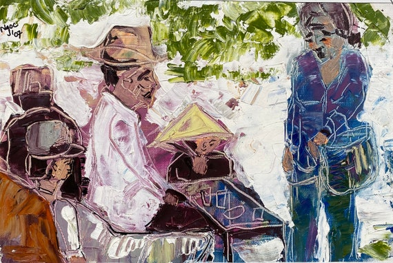 """TALKING 10.5x15"""" textured oil on canvas, live painting, Mekong Delta (Cần Thơ Province), original by Nguyen Ly Phuong Ngoc"""
