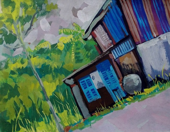 "FOREST HOME 20x16"" gouache on paper, live painting, Mekong Delta (Cần Thơ Province), original by Nguyen Ly Phuong Ngoc"