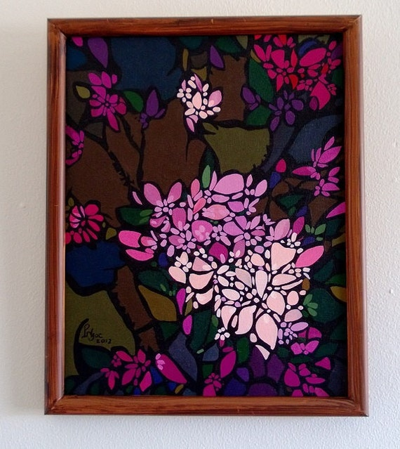 "CHERRY BLOSSOMS 12.25x15.25"" framed acrylic on canvas, cherry blossoms, floral wall decor, original painting by Nguyen Ly Phuong Ngoc"