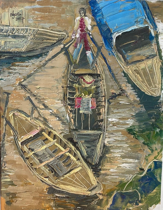 """ROWING 12x15"""" textured oil on canvas, live painting, Mekong Delta (Cần Thơ Province), original by Nguyen Ly Phuong Ngoc"""