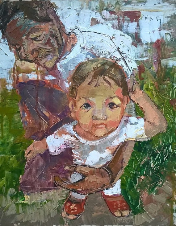 "GRANDCHILD 16x19"" textured oil on canvas, live painting, Mekong Delta (Cần Thơ Province), original by Nguyen Ly Phuong Ngoc"