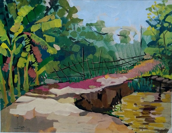 "THE TRAIL 20x16"" gouache on paper, live painting, Mekong Delta (Cần Thơ Province), original by Nguyen Ly Phuong Ngoc"