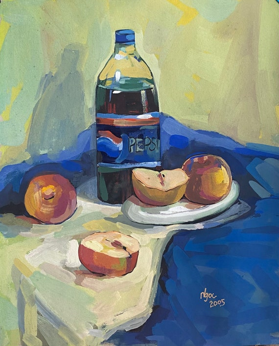 """HEALTHY CHOICES 15x18.5"""" gouache on paper, wall decor, original painting by Nguyen Ly Phuong Ngoc"""