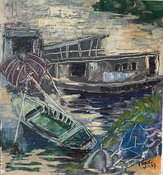 """LATE AFTERNOON 12x13""""textured oil on canvas, live painting, Mekong Delta (Cần Thơ Province), original by Nguyen Ly Phuong Ngoc"""