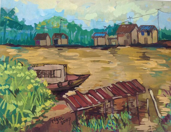 "RIVER DOCK 20x16"" gouache on paper, live painting, Mekong Delta (Cần Thơ Province), original by Nguyen Ly Phuong Ngoc"