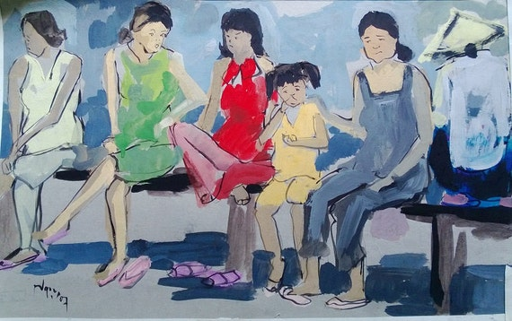 "CAN THO STREETS 19x12"" gouache on paper, live painting, Cần Thơ Province, original by Nguyen Ly Phuong Ngoc"