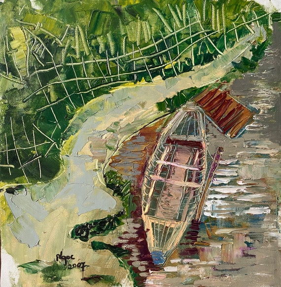 """RESTING 12.5x13""""  textured oil on canvas, live painting, Mekong Delta (Cần Thơ Province), original by Nguyen Ly Phuong Ngoc"""