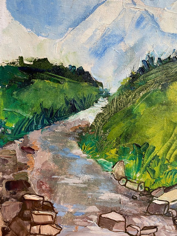 """TRAILS 12.5x15.5"""" Oil on Canvas, Live Painting, Nha Trang, Original by Nguyen Ly Phuong Ngoc"""