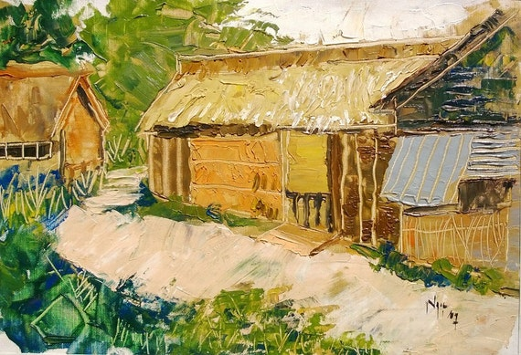 "MEKONG HOUSE 17x12"" textured oil on canvas, live painting, Mekong Delta (Cần Thơ Province), original by Nguyen Ly Phuong Ngoc"