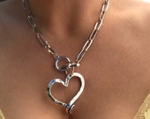 Chunky Heart Pendant Necklace - chunky silver chain necklace, statement t bar choker,gift for wife, big hollow heart pendant