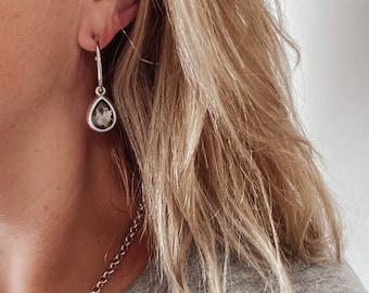 Tassel Earrings on Gray Charcoal Faceted Quartz Dangle