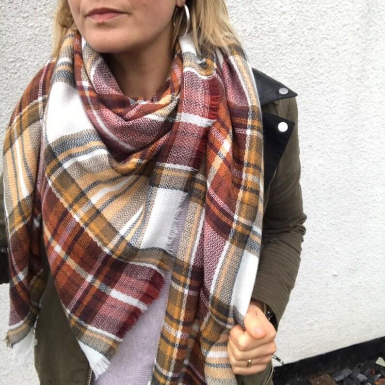 a4bb340eab8 Pecan Pie Plaid Scarf blanket scarf oversized scarf winter
