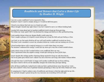 Roadblocks and Detours that Led to a Better Life - Printable Digital Download