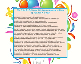 The Colorful Balloons With Secret Lessons to Share - Printable Digital Download