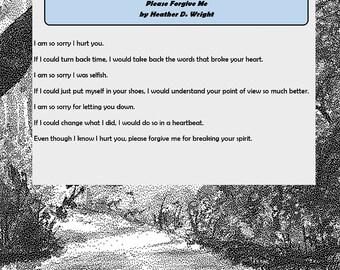 Please Forgive Me - Printable Digital Download