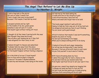 The Angel That Refused to Let Me Give Up - Printable Digital Download