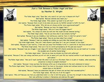Just a Talk Between a Fallen Angel and God - Printable Digital Download