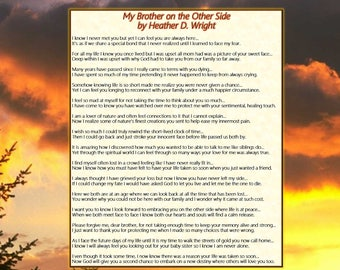 My Brother on the Other Side - Printable Digital Download