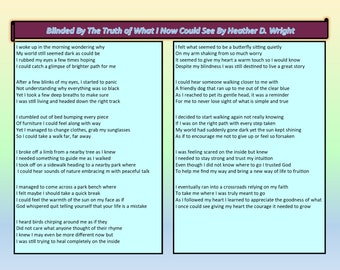 Blinded By the Truth of What I Now Could See - Printable Digital Download