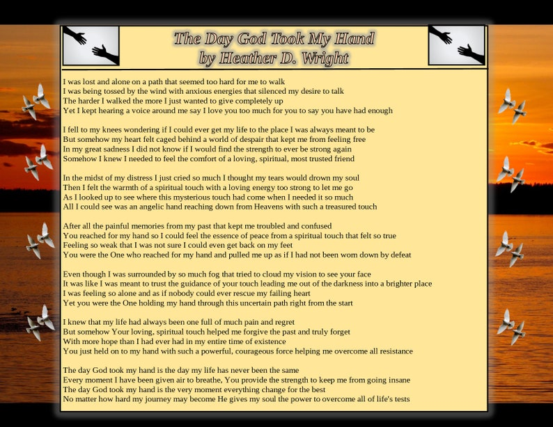 The Day God Took My Hand - Printable Digital Download