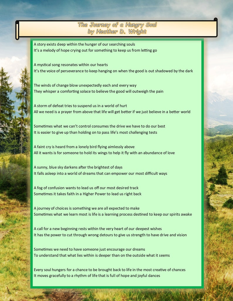 graphic regarding Prayer Rock Poem Printable named The Vacation of a Hungry Soul - Printable Electronic Obtain