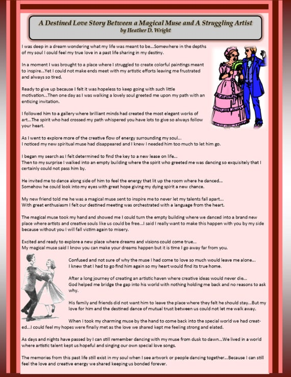 A Destined Love Story Between a Magical Muse and a Struggling Artist -  Printable Digital Download