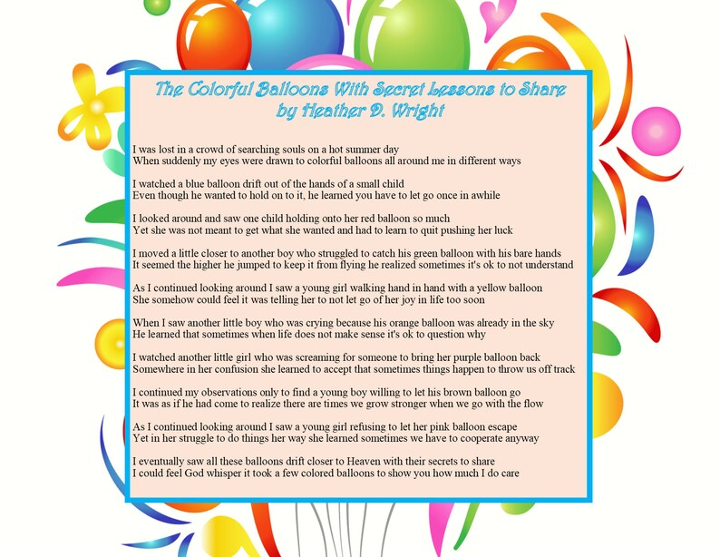 The Colorful Balloons With Secret Lessons To Share Printable Etsy