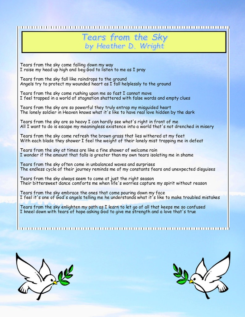Tears from the Sky - Printable Digital Download