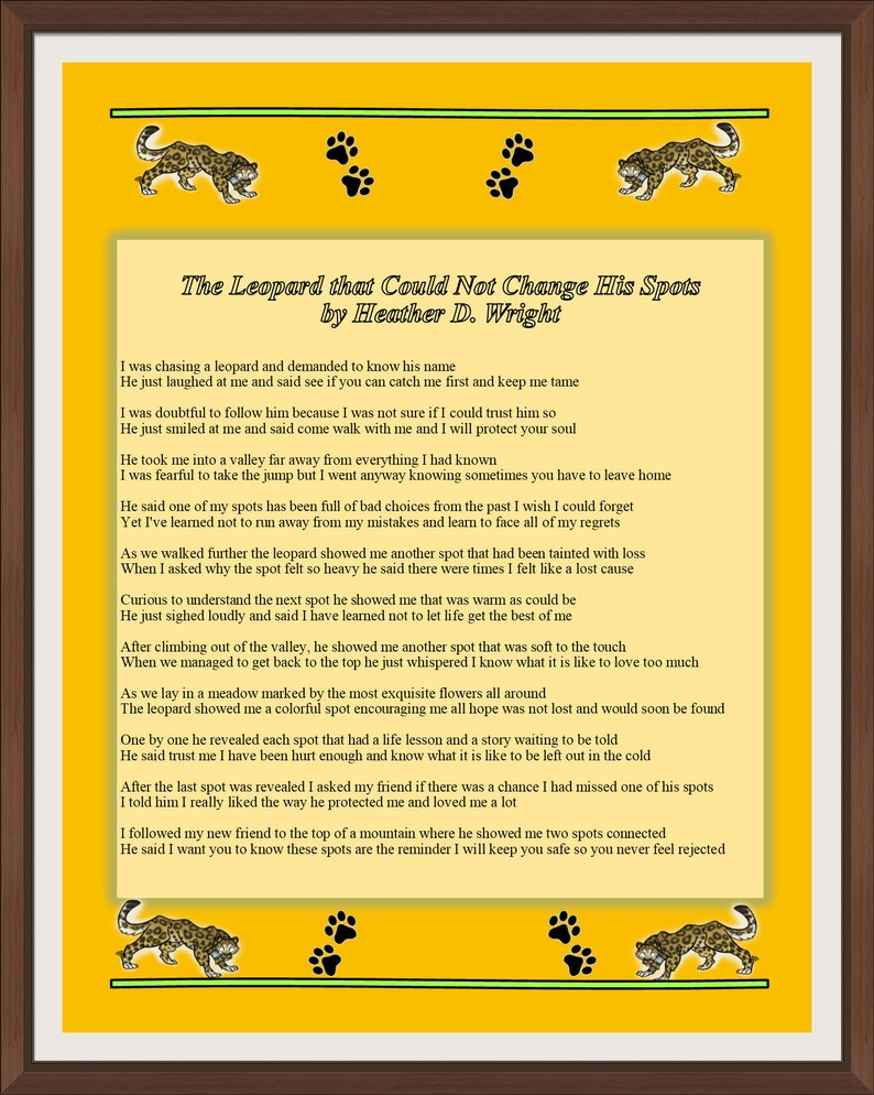 The Leopard that Could Not Change His Spots - Printable Digital Download