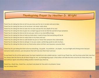 Thanksgiving Prayer - Printable Digital Download