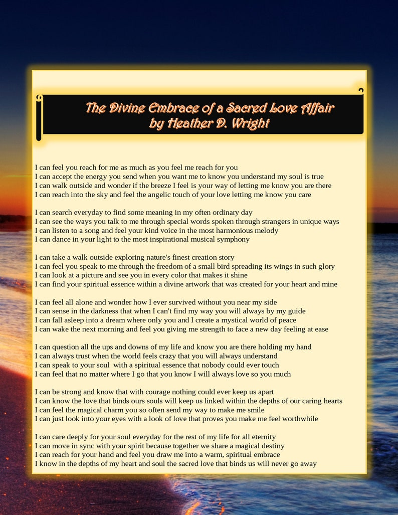 The Divine Embrace of a Sacred Love Affair - Printable Poetic Art Digital  Download