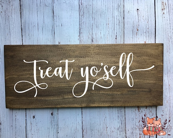 LASER ENGRAVED Treat Yo'self Sign - Love is Sweet Please Take A Treat - Love is Sweet Please Take A Treat Rustic Wooden Wedding Sign cute