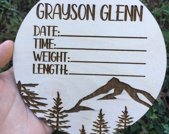 Mountain Birth Announcement Sign - Laser engraved Newborn Photo Prop - Baby Shower Gift - Baby Name Wood - Baby Milestone - birth stats