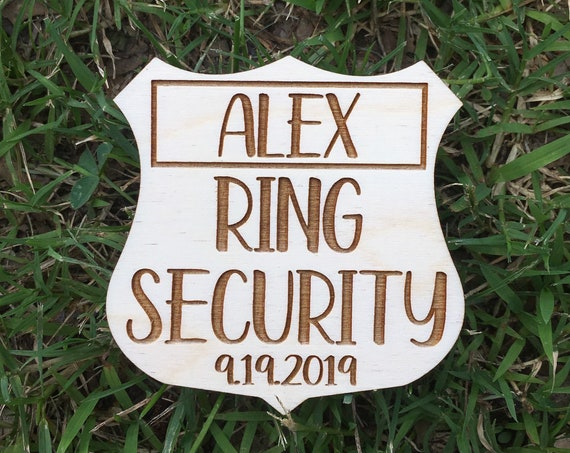 Ring Security Badge - Personalized Ring Security Pin - Wood Ring Bearer Wedding Button - Ring Bearer Sign - Ring Bearer Badge - boutonniere