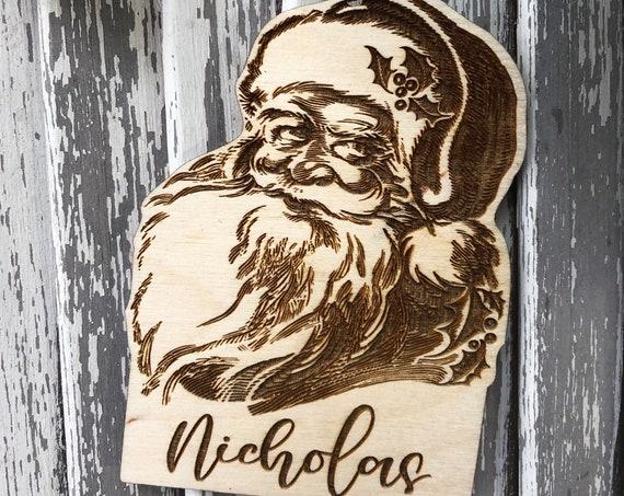 LASER ENGRAVED Santa Ornament, Personalized Christmas Ornament, Christmas Tag, Santa Face Wood Holiday Ornament, Cute Wood cut Christmas