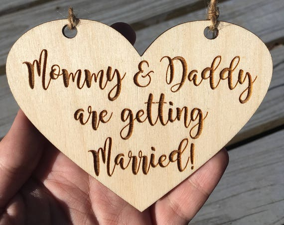 SMALL dog LASER ENGRAVED My humans are getting married dog puppy sign - Dog Sign Engagement Photo Prop - mommy and daddy are getting married