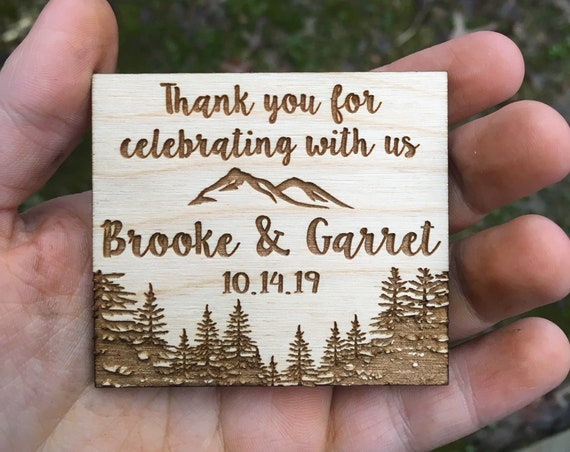Wooden Thank You Favor Magnets - Personalized Save the Date Magnets - Wooden mountains Save the Date - Wood thank you tree - Magnet forest