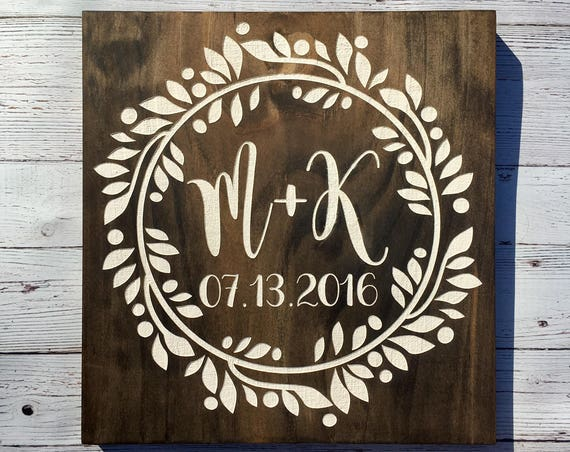 LASER ENGRAVED Established Date Wedding Sign - Monogram Wedding Sign -  Custom Wedding Gift - Name Date Sign - Initial Sign - Newlywed Gift