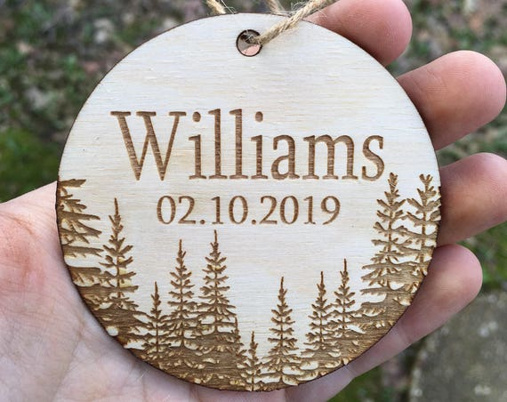 Mountain personalized Christmas ornament - bride and groom ornament - mr mrs ornament - rustic wedding Christmas ornament - Tree Ornament