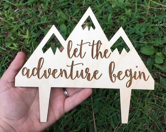 Let The Adventure Begin Wedding Cake Topper - Wedding Cake Topper - Wooden Wedding Cake Topper - Rustic Wedding Topper - Barn Wedding Topper