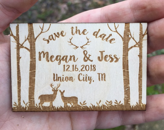 Wooden Save The Date Magnets - Personalized Save the Date Magnets - Wooden mountains Save the Date - Wood Save the Date - Magnet forest cute