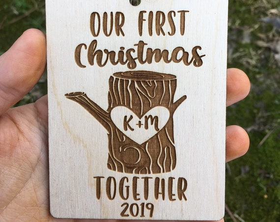 Tree stump personalized Christmas ornament - wood slice lasercut ornament - mr mrs ornament - rustic wedding Christmas ornament -mountain
