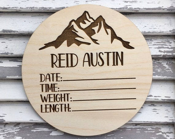 Mountain Birth Announcement Sign - Laser engraved Newborn Photo Prop - Baby Name Wood - Baby Milestone - birth stats - Baby Shower Gift