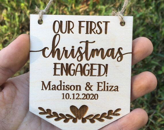Wedding Ornament - Our First Christmas engaged - Personalized couple gift - Engagement Ornament - Engagement Gift - Custom Christmas Gift