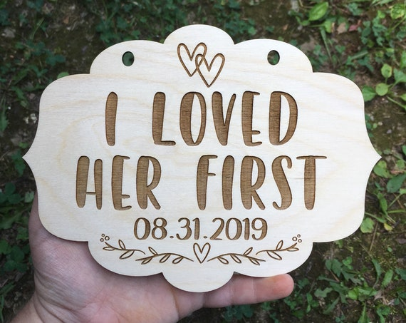 LASER ENGRAVED i loved her first - my humans are getting married dog puppy sign - Dog Photo Prop Sign Engagement Photo Prop - Heart Photo