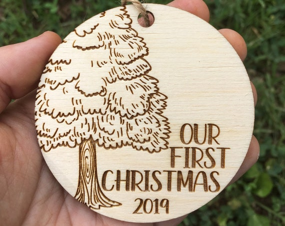 Tree trunk personalized Christmas ornament - our first christmas ornament - mr mrs gift - wedding Christmas ornament - Ornament cute