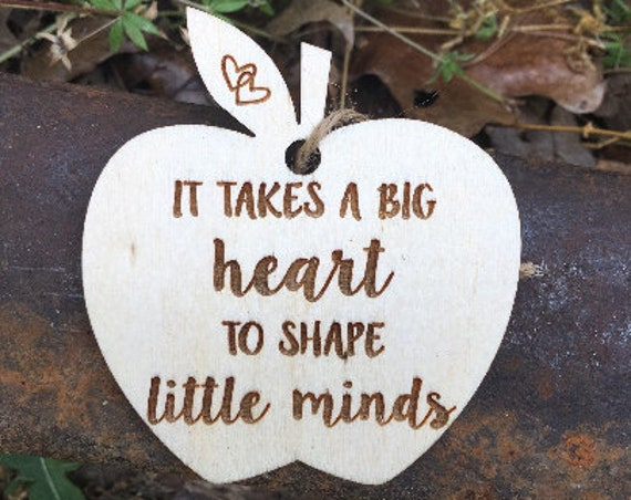 It Takes A Big Heart To Shape Little Minds Ornament - Teacher Ornament - Teacher Christmas Gift - Best Teacher Gift - Teacher End Of Year