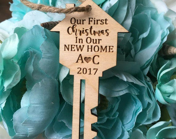 Key Ornament Our first Christmas in our new home tree ornament - personalized gift - Personalized Christmas Key Ornament -New Home Ornament