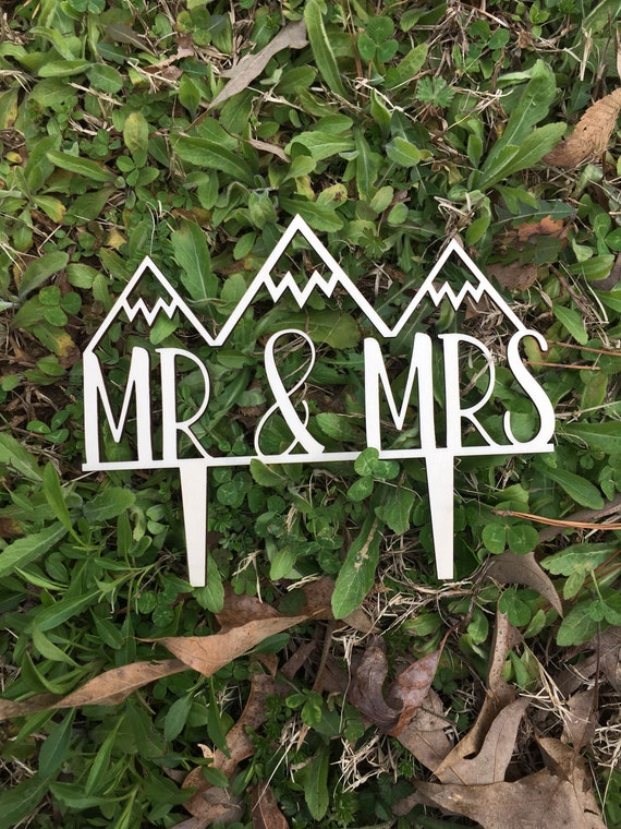 Mr and Mrs Mountain Cake Topper -Happily ever after cake topper - Let The Adventure Begin Wedding Cake Topper - Wedding Cake Topper - Wooden